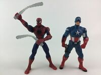 "Captain America Spider Man Avengers 6"" Action Figure Toys 2pc Lot Marvel Hasbro"