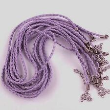 """Lot of (10) 18"""" Weaved (Purple) Leather Rope Necklace"""