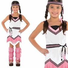 Girls Pink Tiger Lily Native Red Indian Squaw Fancy Dress Pan Book Week Costume
