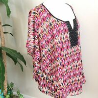 Notations Women's Colorful Flutter Sleeve Blouse 3X  A98