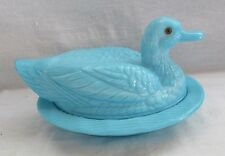 WESTMORELAND GLASS 2 PIECE BLUE COVERED DUCK WITH GLASS EYED