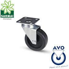 Ruota AVO 220 80x24 rivestimento in gomma nucleo plastica con supporto girevole