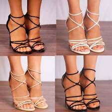 High (3 in. and Up) Stiletto Strappy Synthetic Heels for Women