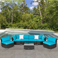 7 PC Patio Rattan Wicker Sofa Set Outdoor Furniture Sectional with Cushion