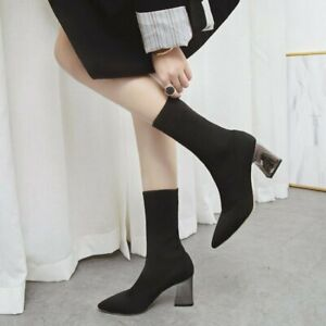 Fall Winter Casual Warm Stretch Sock Boots Women Shoes Pointed Block Heel Bootie