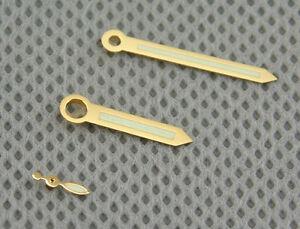 Gold Color Green Luminous Hands Fit Eta 6497,6498,St36 Movement Watch Kits P381