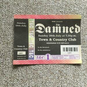 The Damned Unused ticket Town & Country Club 26/07/92 #1297