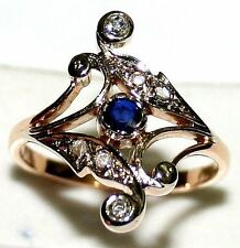 ANTIQUE VICTORIAN FRENCH 18k GOLD PLATINUM DIAMOND SAPPHIRE FRLOWER RING c1900