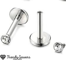 2x Diamond Cut Silver Round Big Steel Labret Monroe Lip Bar Cartilage Rings 3mm
