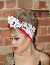 Hello Kitty Red Pin up Rockabilly wide Reversible Wired Headband Headwrap