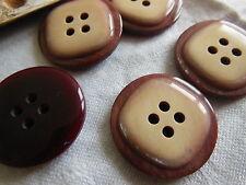lot 5 gros Boutons vintage marron lie de vin effet nacré 2,9 cm ref 818
