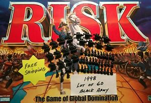 Risk 1998 Black Army lot of 60 Infantry Cavalry Artillery Game Replacements