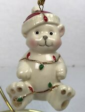 Lenox Ornament Very Merry Holiday Porcelain Bear Wrapped Lights 3.5�Christmas