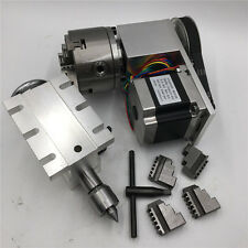 Tailstock Rotary 4th Axis 4jaw 100mm Chuck Nema23 Stepper Motor 6:1 CNC Router