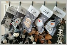 Personalised Silver Grey Embroidered Christmas Stockings