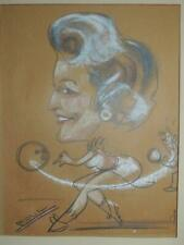 "Mid Century Pastel Caricature Art 13""x10"" bowling poss Jane Russell Jergens"