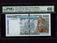 West African States/Guinea Bissau:P-913Sa,5000 Francs,1997* PMG Gem UNC 66 EPQ *