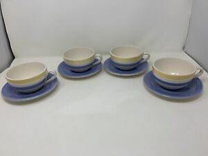 CRATE and BARREL Sanibel 4 Cups & Saucers White with BLUE YELLOW & GREEN Stripes