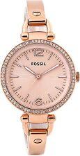 Fossil Ladies Georgia Rose Gold Tone Steel Strap Pink Dial ES3226