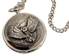 Pocket Watch Owl design pewter front mechanical design 42