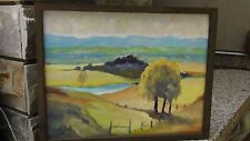 ESTHER POTTER (LISTED ARTIST, AUSTRALIA)LANDSCAPE OIL PAINTING W/TREE ON BOARD.