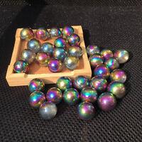 Titanium rainbow angel aura quartz sphere Reiki ball crystal healing 5pcs