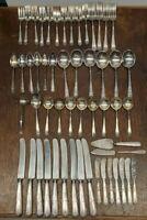 Gorham silverplate flatware set 1924 Monogram E 54 piece set