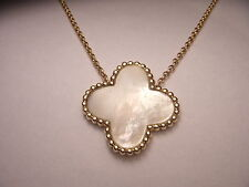 Fabulous 14K Yellow Gold Floral 4-Leaf 4 Leaf Clover Mabe Pearl Pendant Necklace