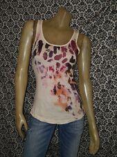 NMG Jeans Animal Print Purple Ivory Slvlss Tank Top Shirt Womens XSMALL USED