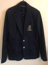 Ralph Lauren. Women's Logo Navy blue blazer/jacket/coat/suit.UK 12/us 8 .New