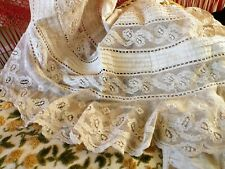 New listing Antique Victorian Tambour Lace Flounce For Salvage Tattered