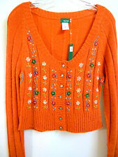 Orange Wool Acrylic Knitted sequined Jeweled Cropped Sweater Cardigan S M L New