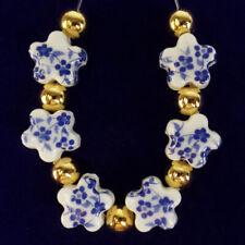 Flower Pendant Bead Fs59922 6Pcs/Set 10x8mm Blue Ceramics