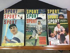 Lot of 9 Vintage Sport Magazines. Ralph Kiner, Christy Mathewson, Willie Mays