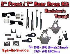 "1999 - 2000 Chevy Silverado GMC Sierra 1500 4WD  5"" / 7"" Drop Kit, Shocks, NOTCH"
