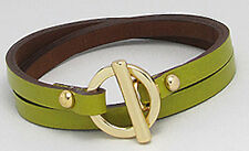 Pistachio Green Leather Wraparound Gold Plated Stainless Steel Toggle Bracelet