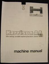 "Harrison Aa, 13"" Swing Lathe Operations Installation and Maintenance Manual"