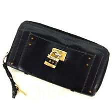 Chloe Wallet Purse Long Wallet Black Woman Authentic Used Y823