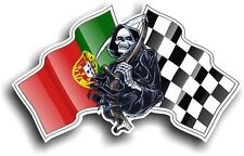 Death The GRIM REAPER & Portugal Portuguese Racing Flag vinyl car helmet sticker