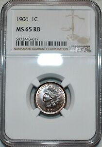 NGC MS-65 RB 1906 Indian Head Cent, Attractively toned, Blazing specimen.
