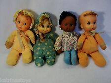 "Lot of 4 1974 Mattel Baby beans 11"" plush dolls for restoration"