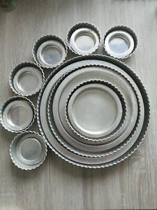 Set Of Aluminium Loose Bottom Flan Tins