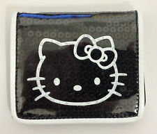 HELLO KITTY BLACK SEQUIN WALLET ID CARD HOLDER BUS RAIL PASS TRAVEL PURSE -