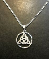 CELTIC TRIQUETRA TRINITY KNOT NECKLACE PENDANT DILER PLATED 182 CHAIN Gift Bag