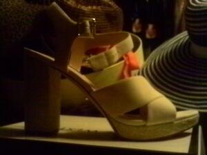 Nine West Jimar Block Heel Ankle Strap Sandals DRAG Off White Natural, 12 M  US