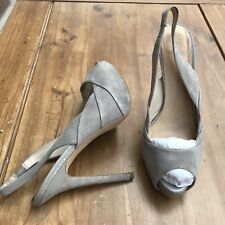 ZARA LIGHT GREY SUEDE platform Sling Back Peep Toe Heels 38/5