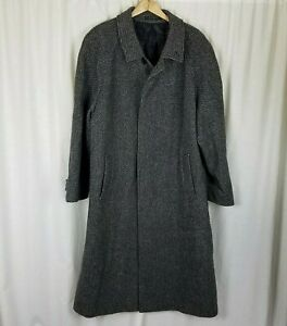 Black & Gray Speckled Checked Wool Peacoat Polo Coat Mens L XL Vintage 80s 90s