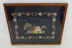 Antique Cross Stitch Needlepoint Framed Home Sweet Home Cottage Country Ca 1930