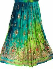 Ladies Indian Party Boho Gypsy Hippie Long Sequin Skirt Rayon Belly Dance r2