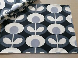Set of 4 Fabric placemats tablemat Orla Kiely Oval Flower Cool Grey